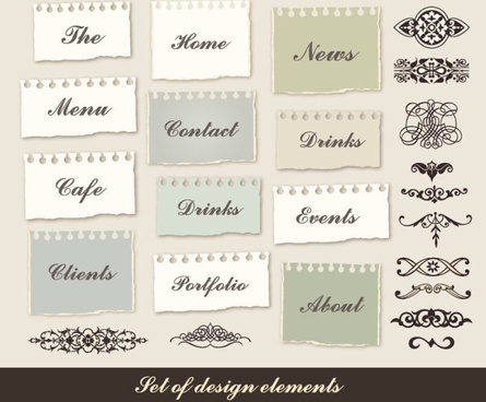 set of torn message paper vector