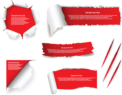 set of torn paper banner vector