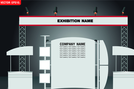 set of trade exhibition and promotion vector