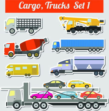 set of transportation stickers vector