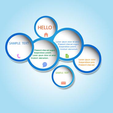 set of trendy web design bubble vector