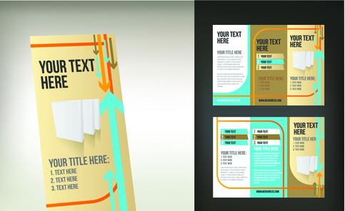 set of tri fold business brochure cover vector - Folding Brochure Template Free