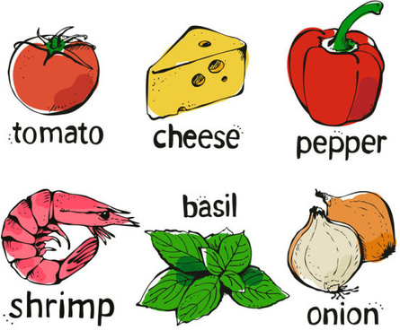 set of various food elements vector