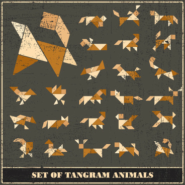 set of various tangram figure vector