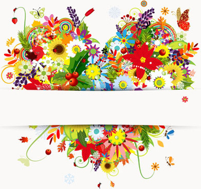 set of vector colorful butterflies background