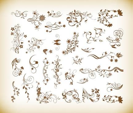 set of vector ornamental floral elements for design