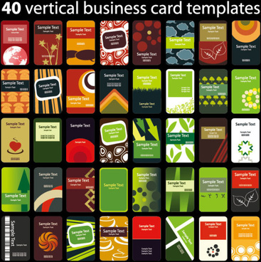 set of vertical business card templates vector