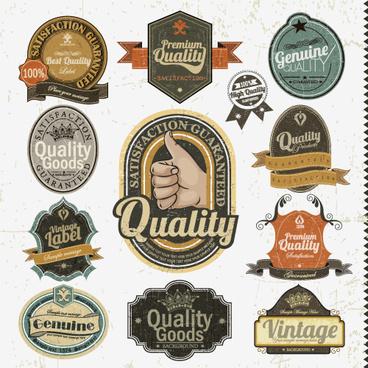 set of vintage badges8 labels vector