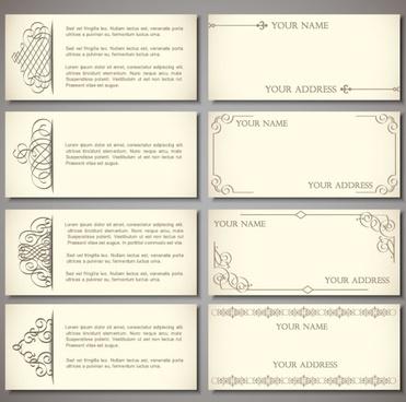 set of vintage business card design vector