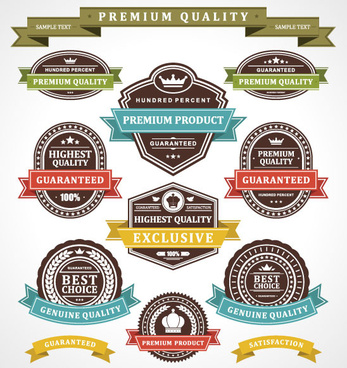 set of vintage business labels vector