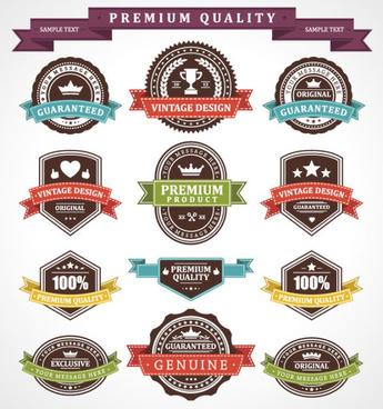 set of vintage business labels vector