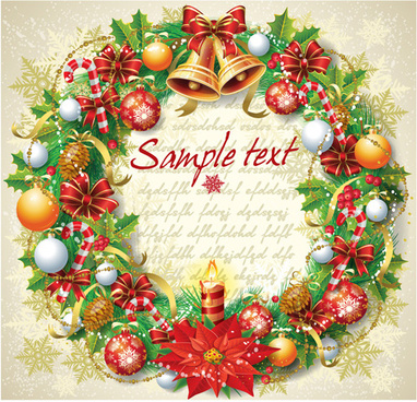 set of vintage christmas and new year13 decor illustration vector