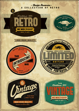 set of vintage commerce labels stickers