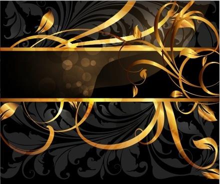set of vintage dark golden cards elements vector