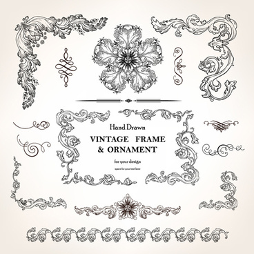 set of vintage design elements vector borders