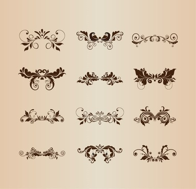 set of vintage design ornaments with floral elements vector illustration
