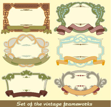 set of vintage frameworks elements vector