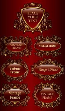 set of vintage gold frame design vector