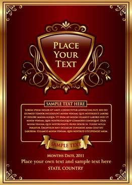 set of vintage gold frame design vector