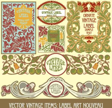 set of vintage items label art vector