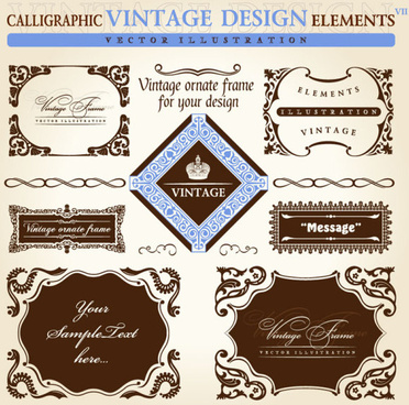 set of vintage ornate frames vector art