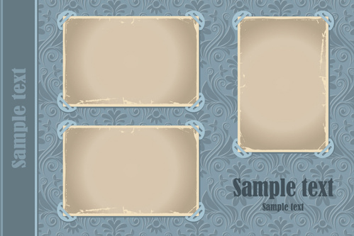 set of vintage photo frames vector