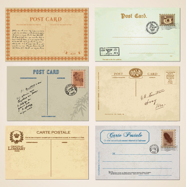 set of vintage post cards elements vector