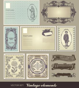 set of vintage post cards elements vector