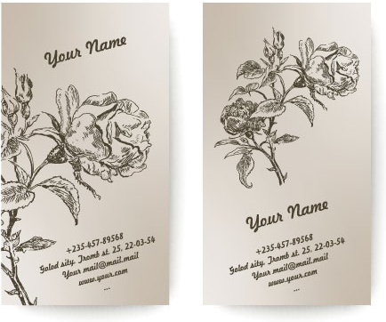 set of vintage with flowers cards vector