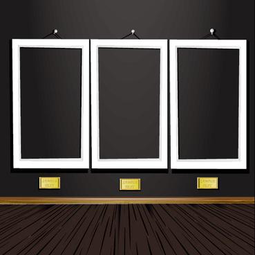 set of vintage wooden photo frame vector