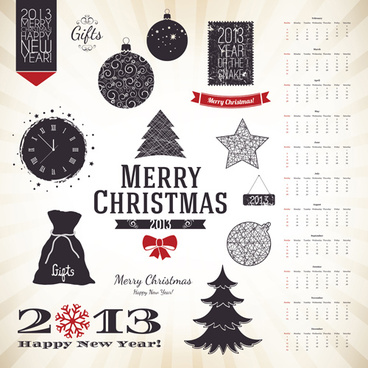 set of vintage xmas decorative elements vector