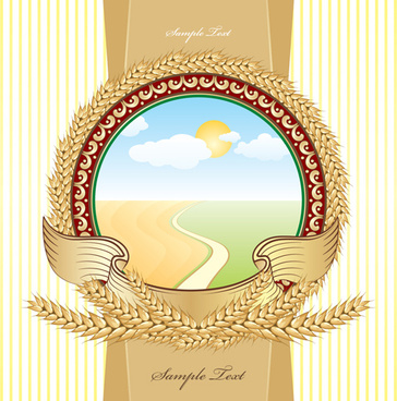 set of vivid beer label vector