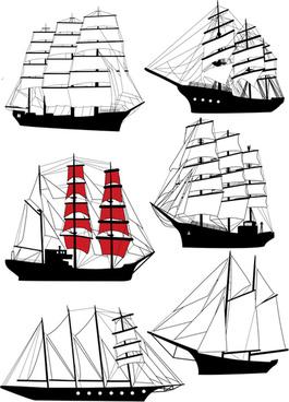 set of vivid sailing vessels design vector