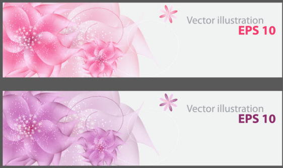 set of vivid shiny floral vector banner