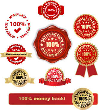 set of wax seal and award design elements vector