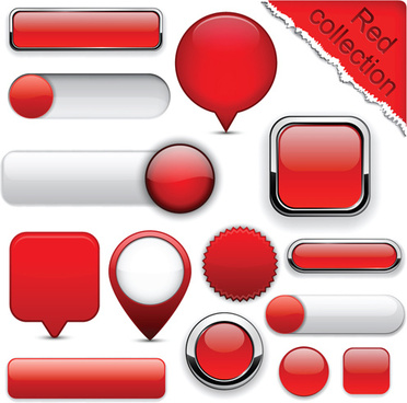 set of web glass buttons mix vector