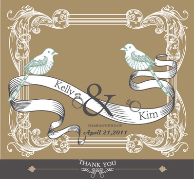 set of wedding card design elements vector