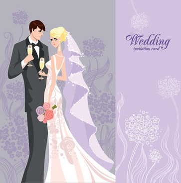 set of wedding invitation cards elements vector graphics