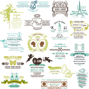 set of wedding logo design elements vector