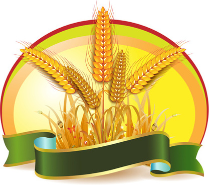 set of wheat vector lables