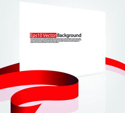 set of white form and red ribbons backgrounds vector