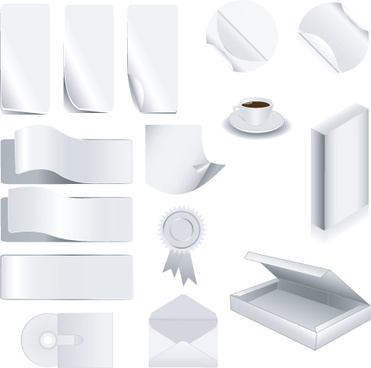 set of white objects in life elements vector