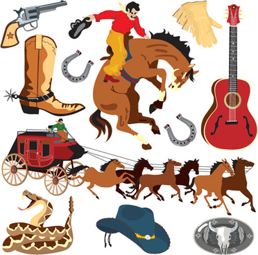 set of wild west elements vector