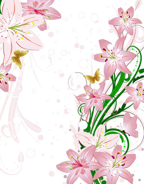 set of with flowers elements background vector