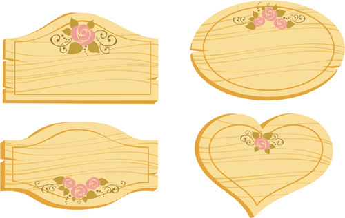 set of wooden labels vector graphic
