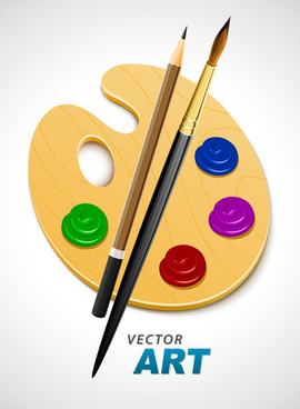 set of wooden palette and brushes vector