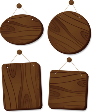set of wooden tags elements vector