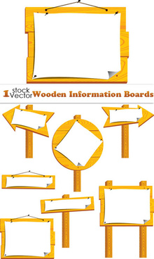 set of wooden vector information boards