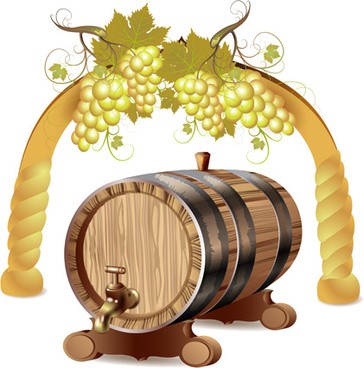 set of wooden wine barrel vector