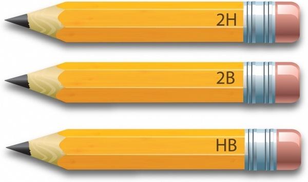 Set of yellow pencils isolated